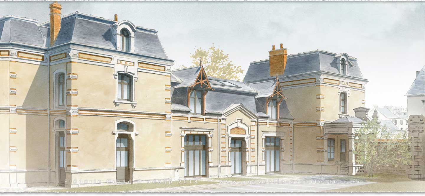 Aquarelle en architecture rénovation logis du Bon Saint-Jacques MORET-SUR-LOING
