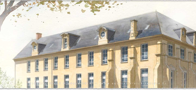 perspective aquarelle et dessin en architecture restauration patrimoine château médiéval Gibanel Argentat (Corrèze)