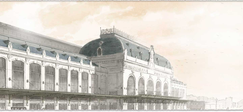 perspective aquarelle et dessin en architecture restauration patrimoine gare des Brotteaux Lyon (Rhône)