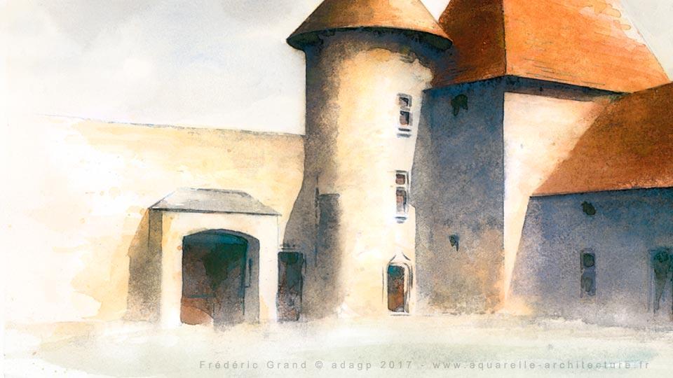 Représentation de l'architecture médiévale (XIII au XVIII<sup>e</sup> s.) - BIRON (Dordogne)