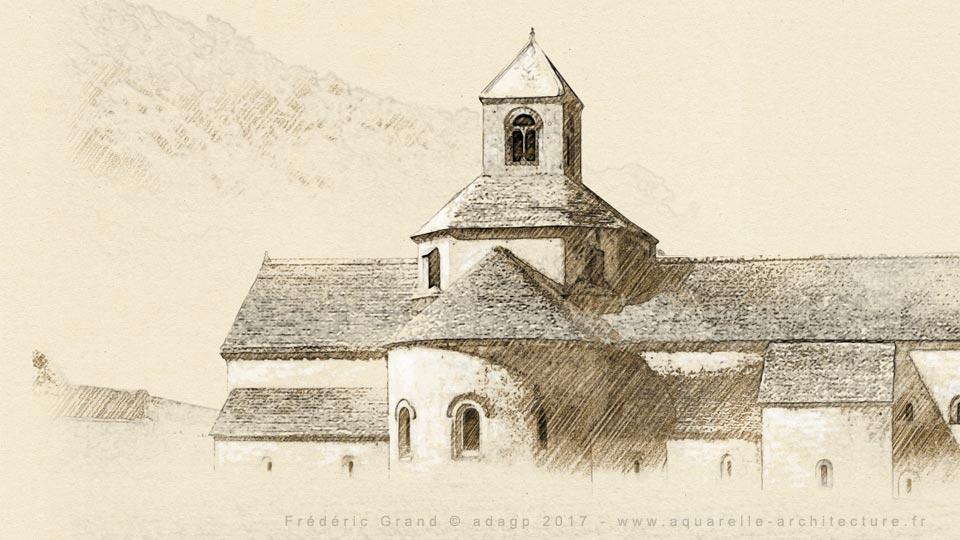 Représentation de l'Architecture Romane du XII<sup>e</sup> s. - GORDES (Vaucluse)