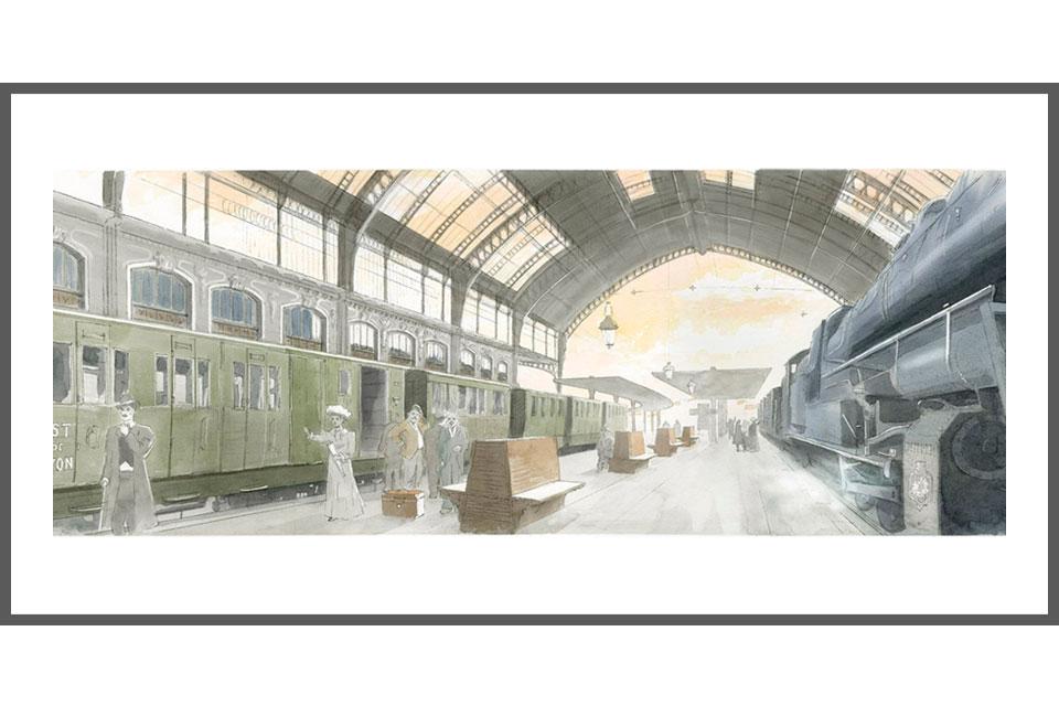 aquarelle architecture tirage gare des Brotteaux hall 13 bis Lyon