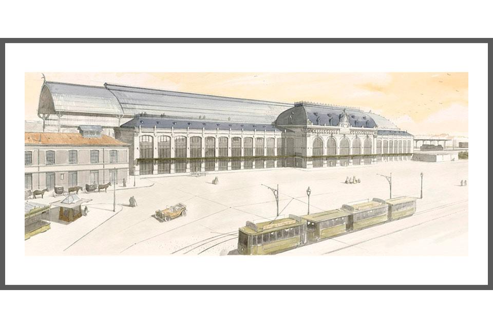 aquarelle architecture tirage gare des Brotteaux hall 13 ter Lyon