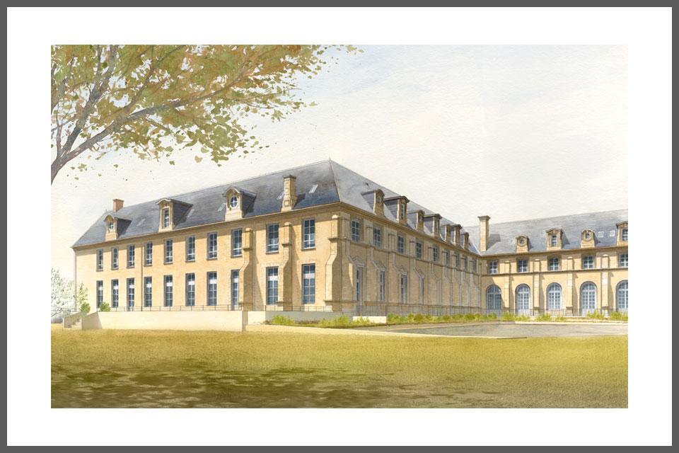 aquarelle architecture tirage  rénovation abbaye Toussaint Châlons-en-Champagne