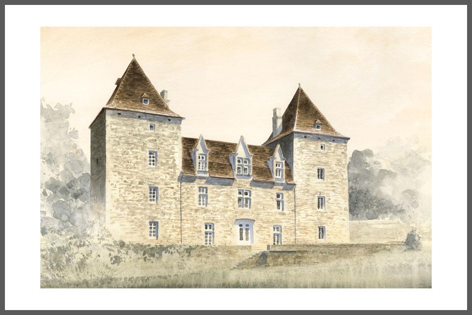 aquarelle architecture tirage rénovation architecture médievale château Gibanel Argentat