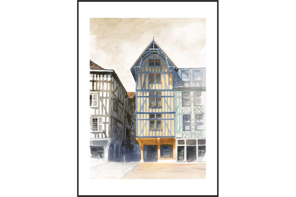aquarelle architecture tirage rénovation maisons colombage zola Troyes